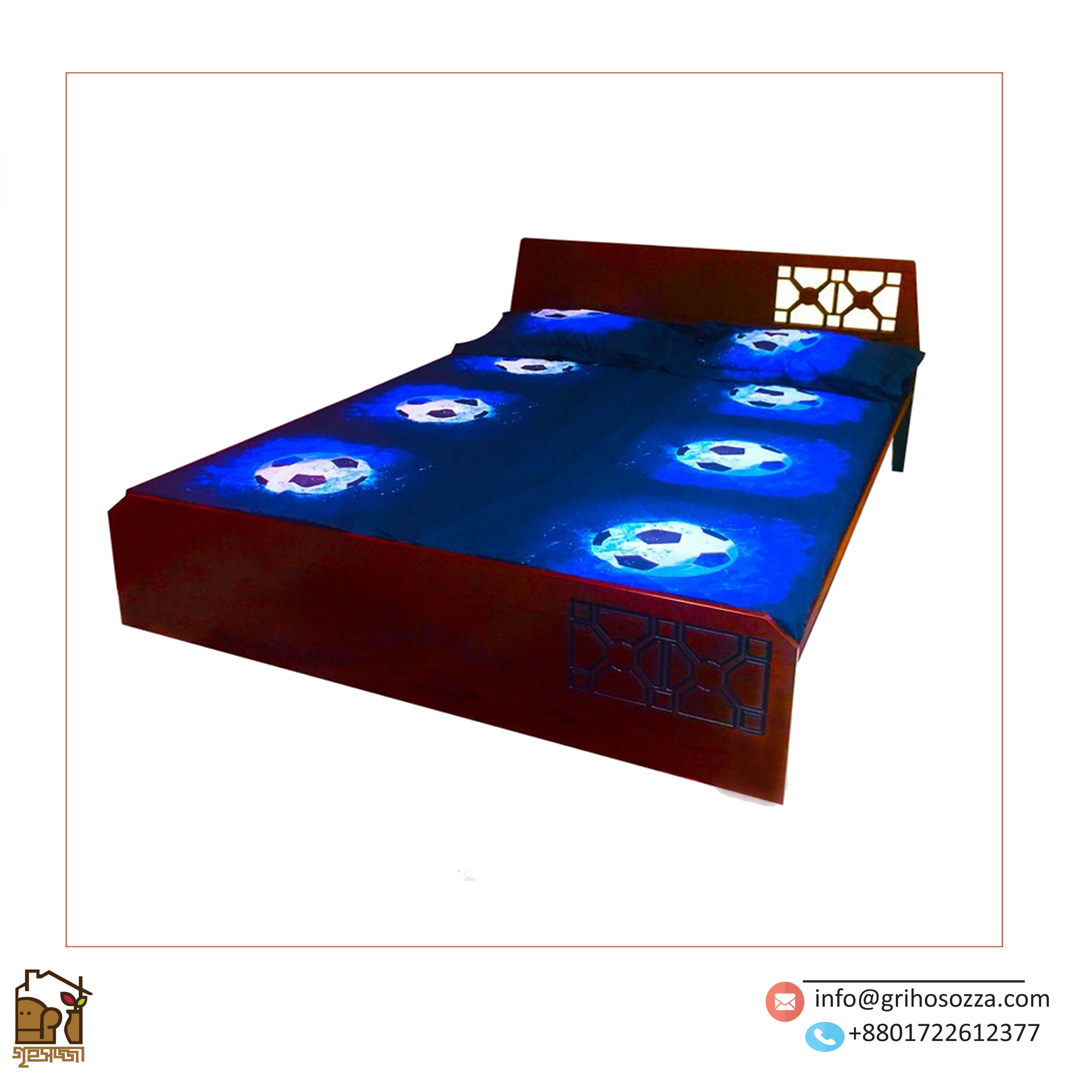 HATIM-Wooden Double Bed – HBDH-305